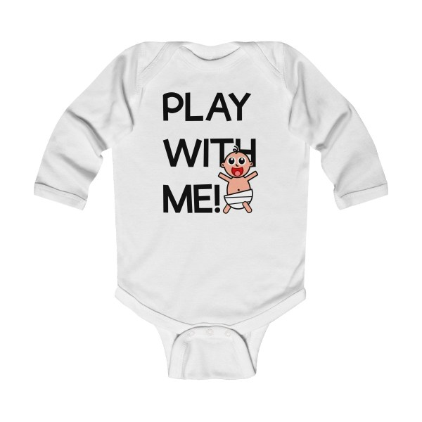 Play with me explorer (parental guidance required) long-sleeved infant onesie - front - white
