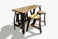 Tall Bar Table 4 Stools  Bourbon Barrel Furniture