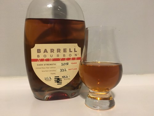 Barrell Bourbon bottle with glencainrn glass