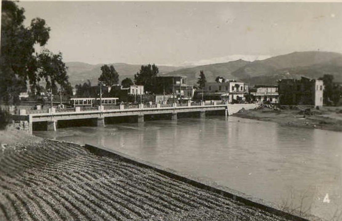 Tram crossing the bridge & heading to Gemmayzeh from Bourj Hammoud [1942]
