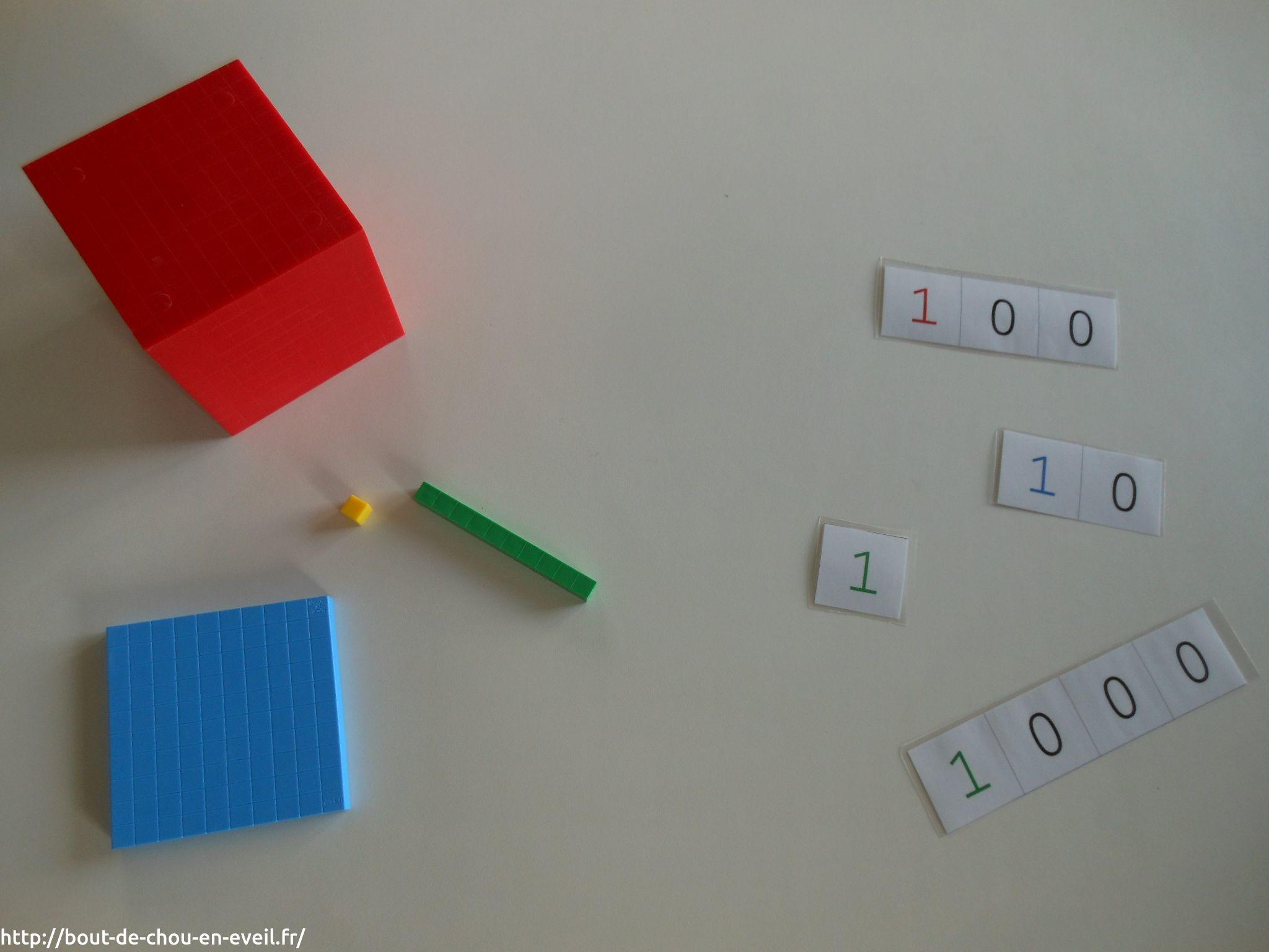 activit montessori 1 10 100 et 1000 bout de chou en veil. Black Bedroom Furniture Sets. Home Design Ideas
