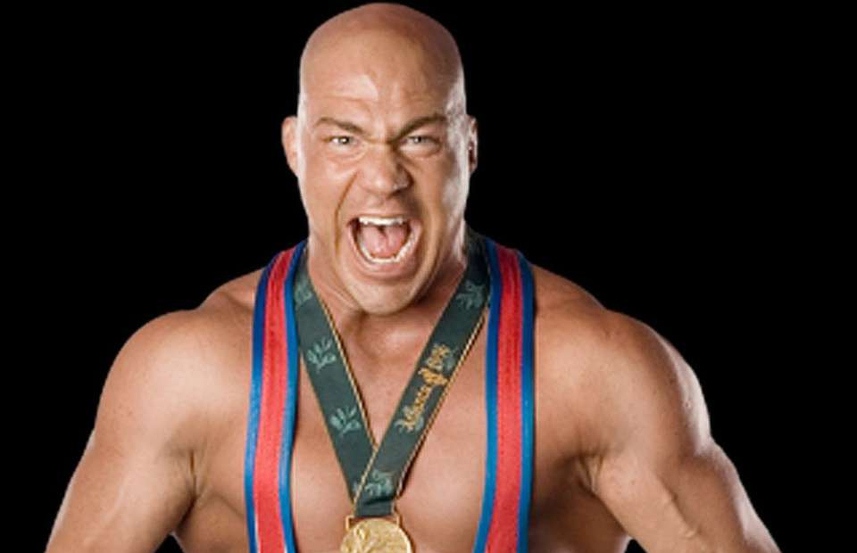 Kurt Angle mentions TNA in funny way on WWE Live TV!
