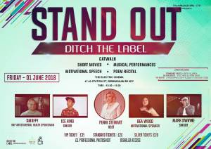 STAND OUT – Ditch The Label (Anti Bullying Event) 1/6/18 BIRMINGHAM, UK