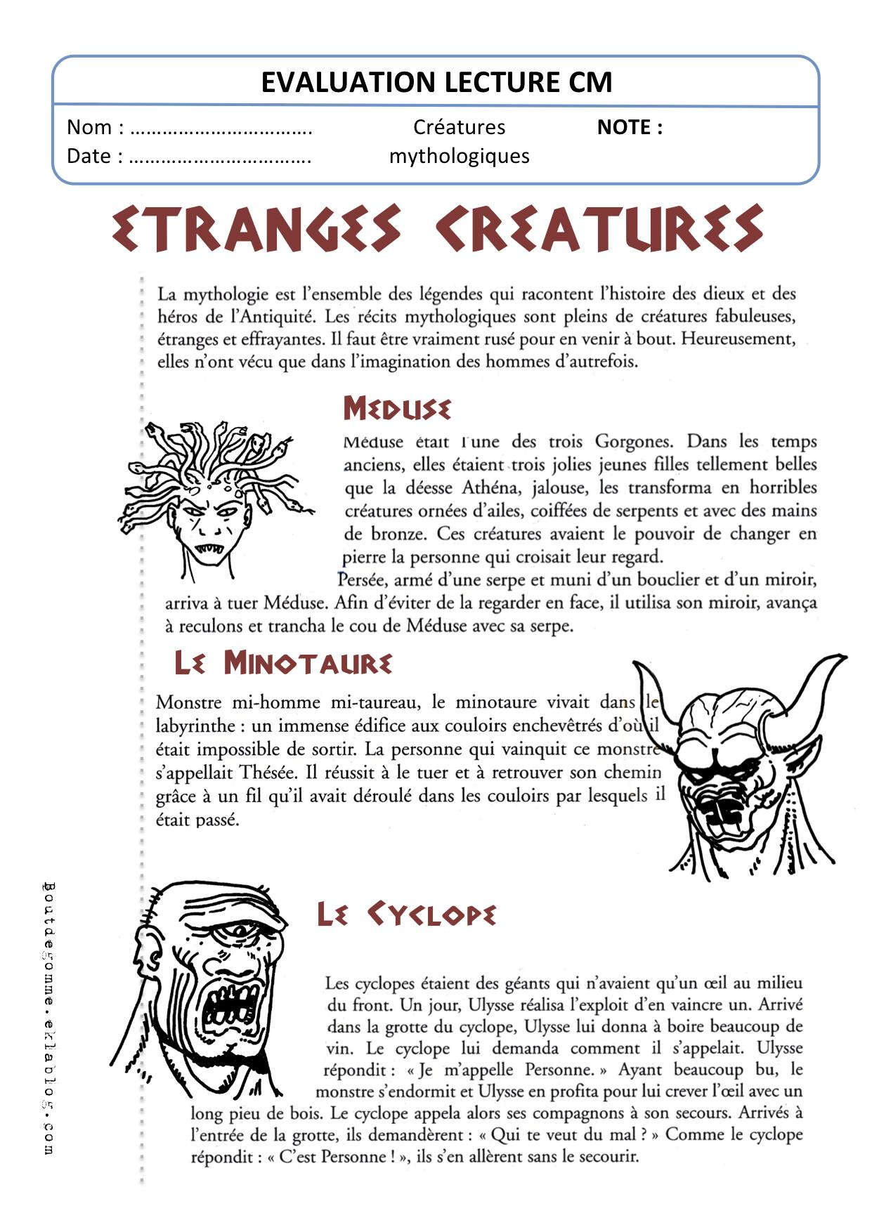 Evaluation Sur Le Monstre 6eme : evaluation, monstre, Evaluation, Lecture, (Créatures, Mythologiques), Gomme