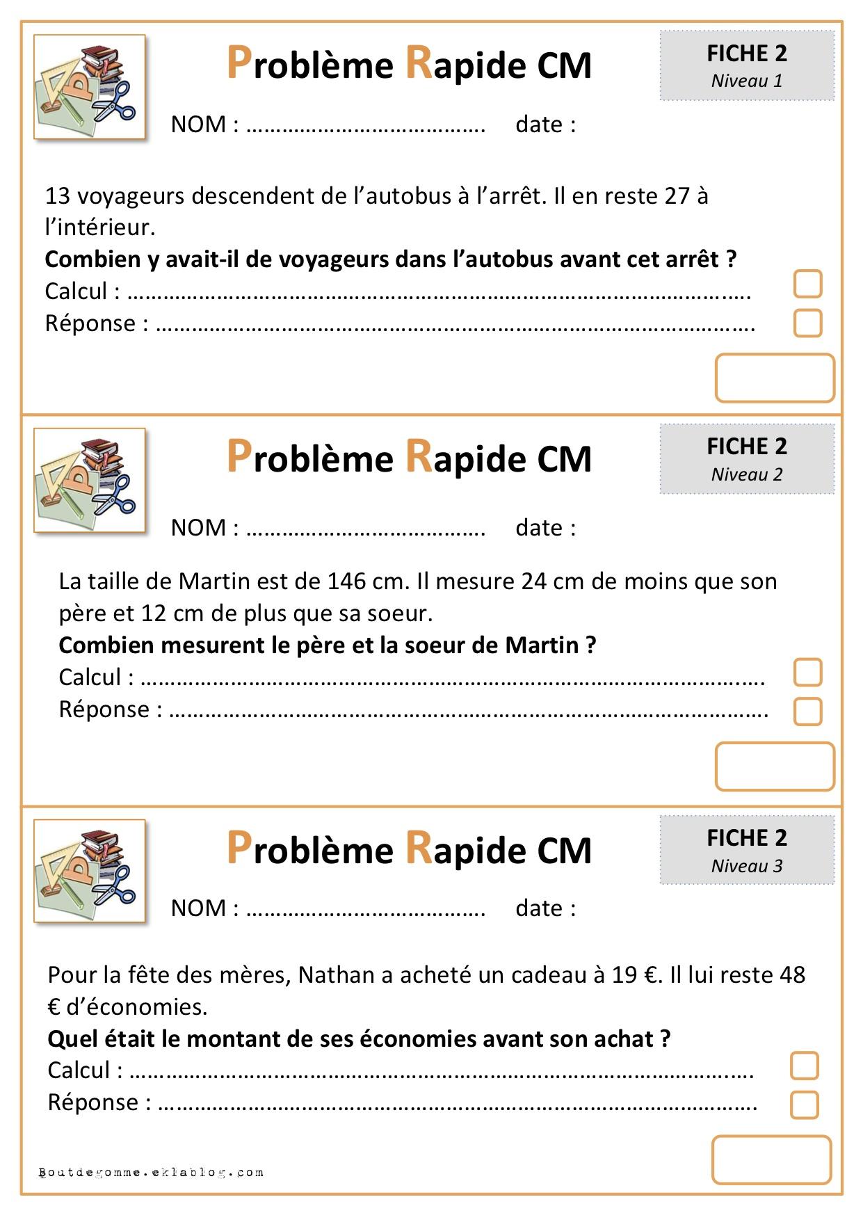 Problèmes Cp Bout De Gomme : problèmes, gomme, Problemes, Rapides, Cycle, Gomme