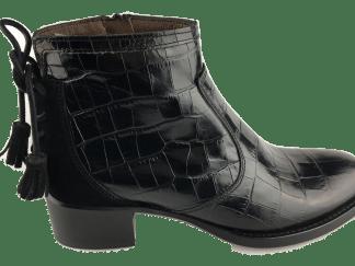 bottines, cuir, reptile, noir, semelle élastomère, talon de 3 cm
