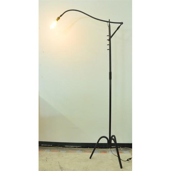 lampadaire a cremaillere en fer forge et metal 1950 polychrome vintage design