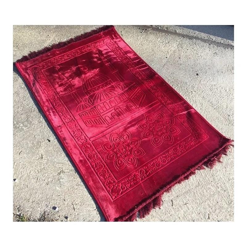grand tapis de priere uni tres epais antiderapant rouge boutique salam
