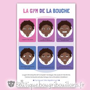 Planche 3/3 et cartes à découper sur la gym de la bouche - orthophoniste