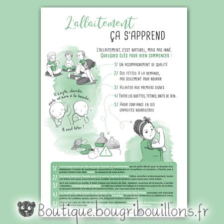 Affiche allaitement 1 - L'allaitement ça s'apprend - Bougribouillons