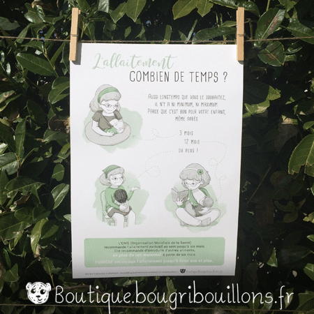 Affiche allaitement imprimée 4 - L'allaitement ça s'apprend - Bougribouillons