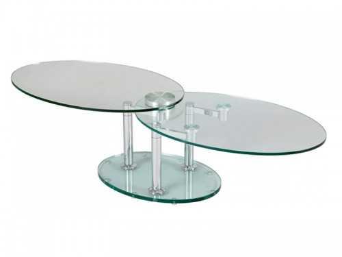 table de salon double plateaux ovales