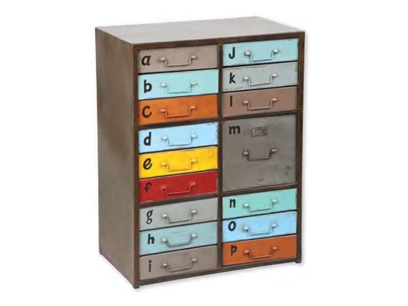 Meuble rangement en acier  16 tiroirs color look vintage  Meubles Bois Massif