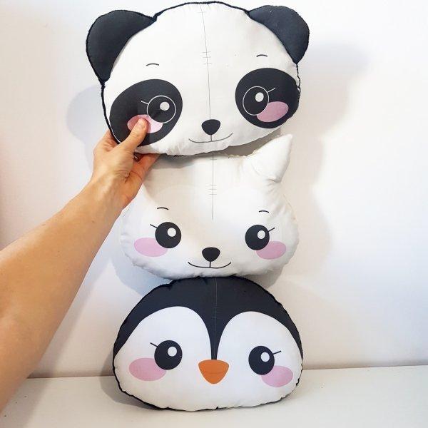coussin pingouin lama panda