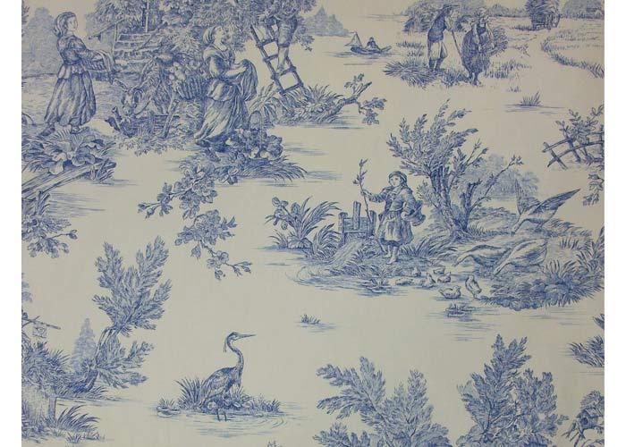 Tissu 100 coton motif Toile de jouy en 280 cm de large  Toile de Jouy grande largeur