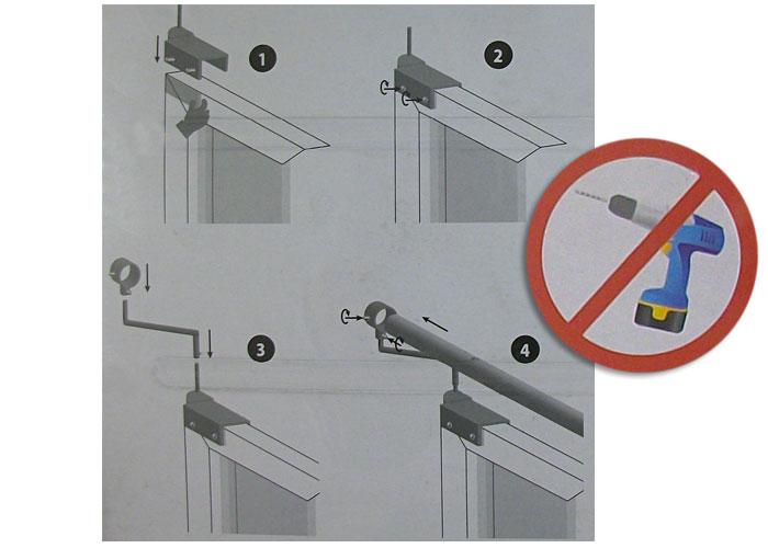 2 supports de barre a rideaux sans percage coloris argent