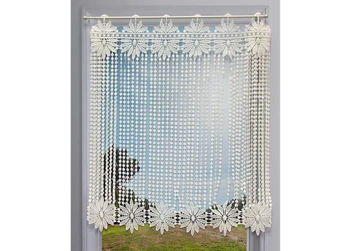 brise bise macrame ecru motif fleurs et perles