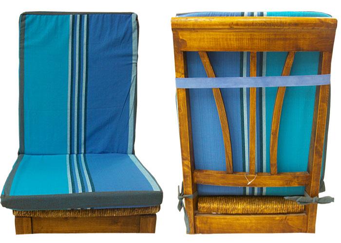 Coussin De Chaise Dossier Dhoussable Raye Bleu Et