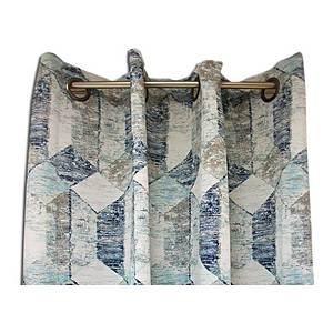 rideau obscurcissant bleu marine imprime geometrique saphir