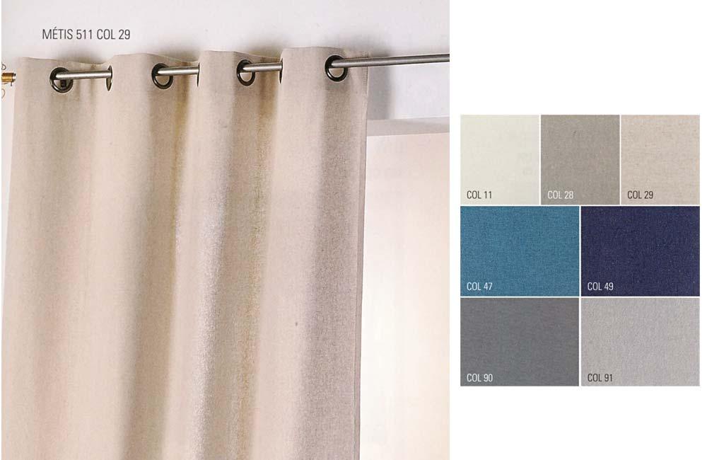 details sur rideau metis coton et lin 135x260 pret a poser a oeillets ronds