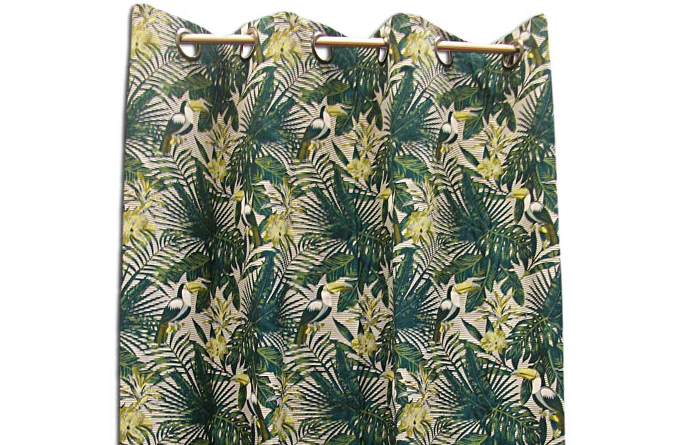 details sur rideau vert ambiance tropicale motif toucan pret a poser 135x255 cm