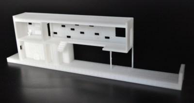 Corte de modelo arquitetônico