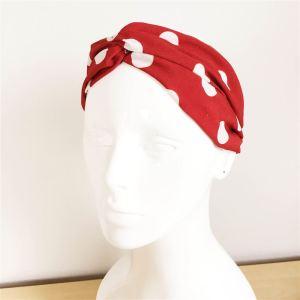 Bandeau cheveux rouge à pois blanc