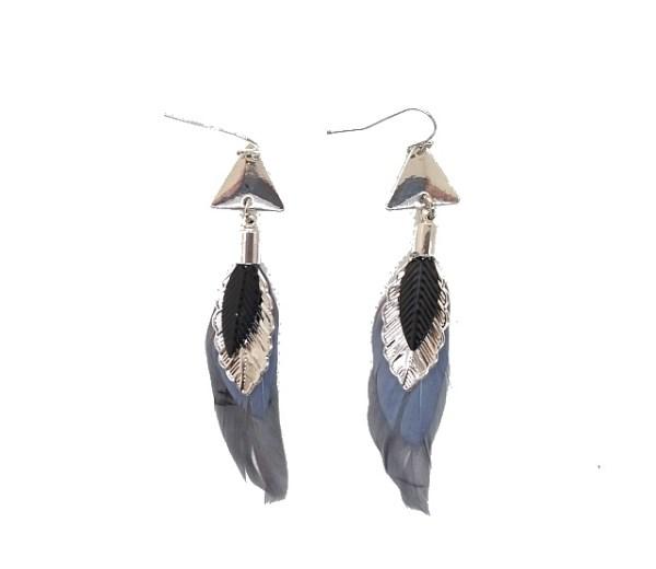 Boucles d'oreilles plumes noires grises