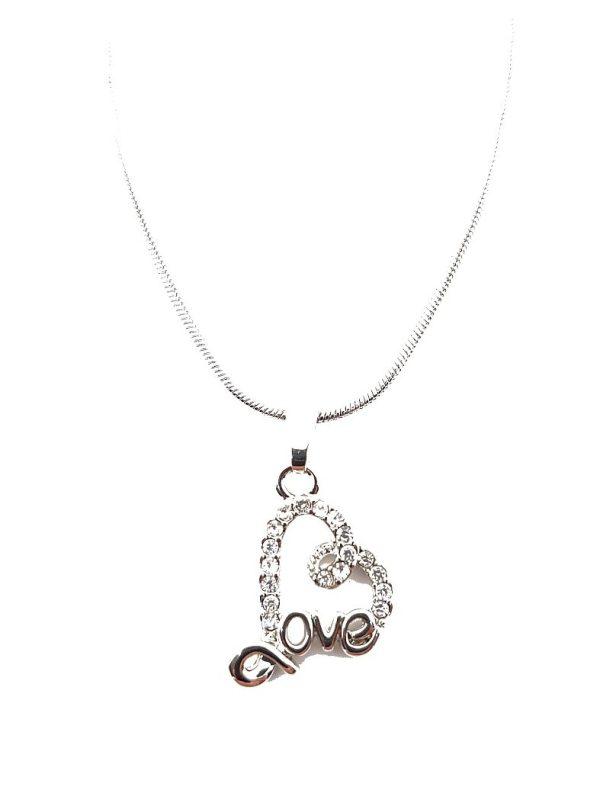 Chaîne avec pendentif cœur message Love