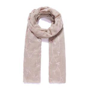 Foulard XL feuilles dorées beige et rose