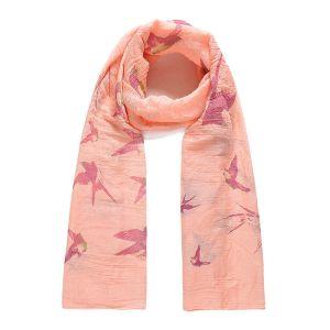 Foulard XL rose motifs oiseaux Femme