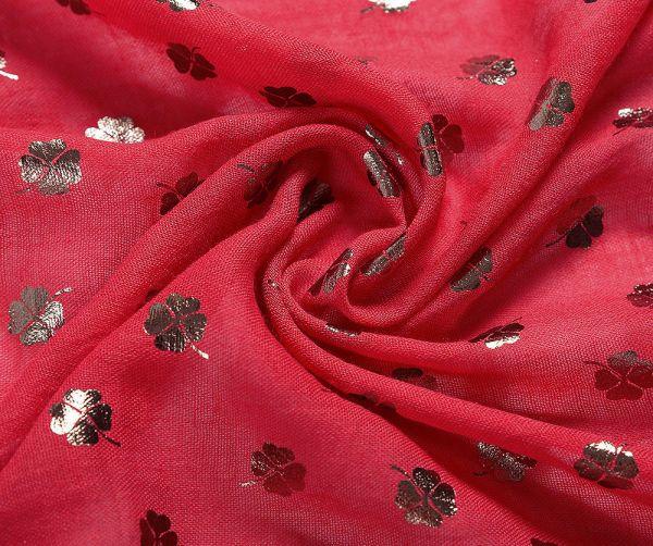 Foulard XL trèfle à 4 feuilles effet métallisé rouge motif
