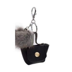 Porte clé bijou de sac pompon gris
