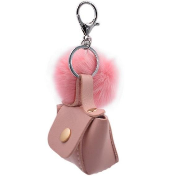 Porte clé bijou de sac pompon rose