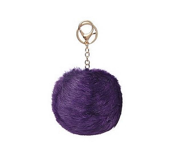 Porte clé bijou de sac pompon violet