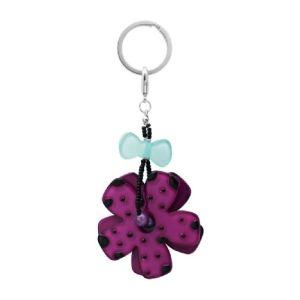 Porte clé fleur violet femme