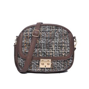 Sac bandoulière tweed marron