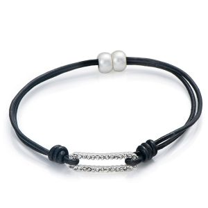Bracelet Rectangle en cuir véritable - Noir