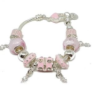 Bracelet charms rose feminin