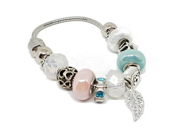 Bracelet charms turquoise blanc rose