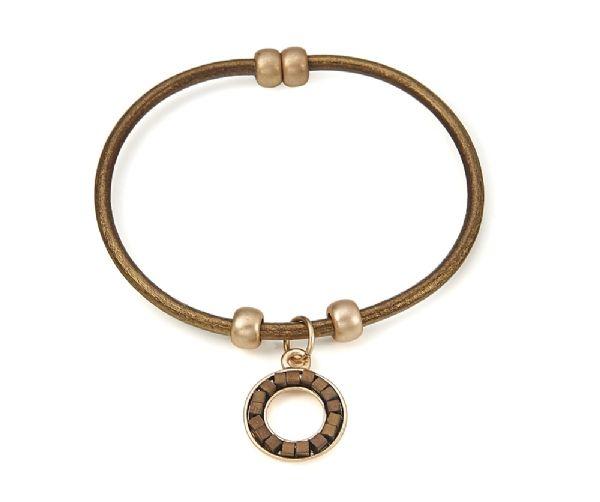 Bracelet fin cuir bronze avec Porte-bonheur