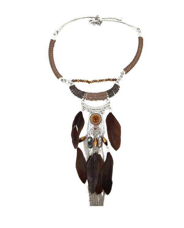 Collier cascade de plumes marrons et chainettes