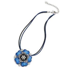 Collier cordon fleur bleu