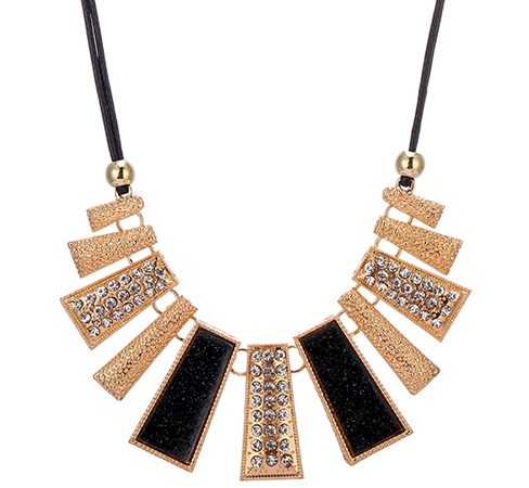 Collier rectangles strass