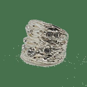 Bague écorce argentée