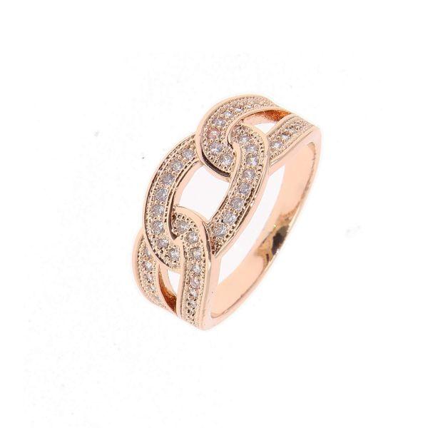 Bague rose gold anneaux entrelacés