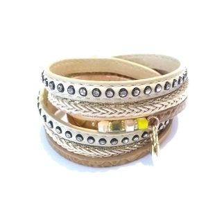 Bracelet 2 tours marrons et pendants dorés