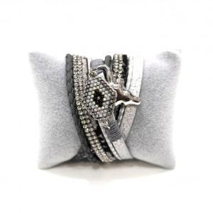Bracelet gris double tour