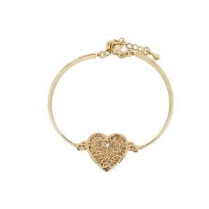 Bracelet métal doré cœur ajouré