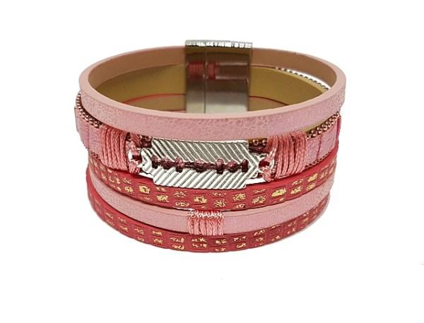 Bracelet rose motifs dorés